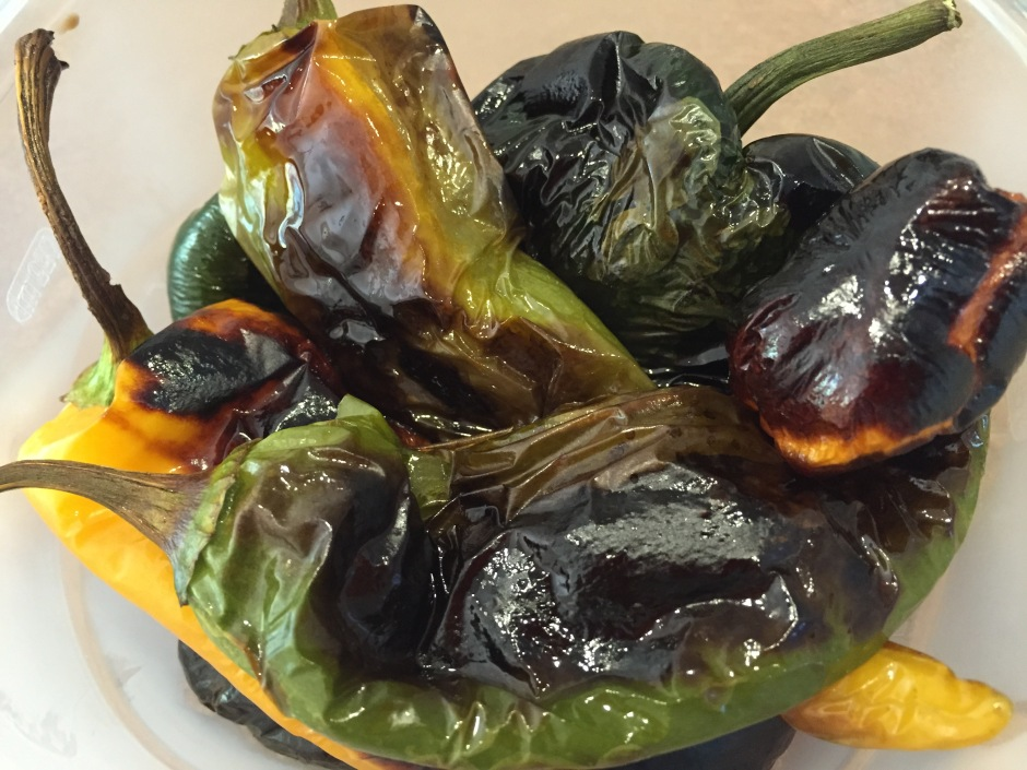 Roasted chiles ready to sweat